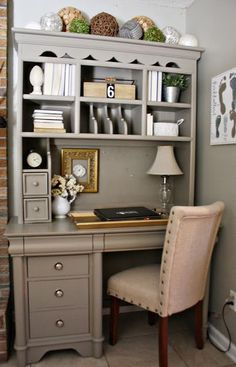 Another approach to wall decor~Repurpose and old desk and hutch with a fresh coat of paint and then decorate! I love this! #paintingfurniture