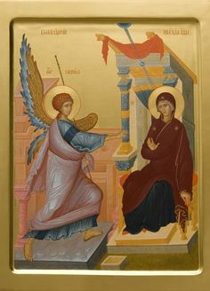 Annunciation of the Mother of God, mechanically printed icon. Catalog of St Elisabeth Convent. Religious Icons, Religious Art, Roman Church, Paint Icon, Perspective, Russian Icons, Religious Paintings, Best Icons, Orthodox Icons