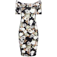 Yoins White Floral Print Dress with Off Shoulder (€13) ❤ liked on Polyvore featuring dresses, yoins, black, floral day dress, floral printed dress, off shoulder dress, white floral dress and white day dress