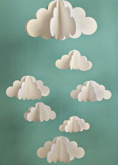 Your place to buy and sell all things handmade Cloud Mobile, Hanging Baby Mobile, Paper Mobile, N Diy And Crafts, Craft Projects, Crafts For Kids, Arts And Crafts, Summer Crafts, Handmade Crafts, Paper Clouds, 3d Clouds, Balloon Clouds