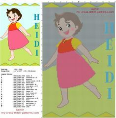 Heidi girl of the alps smiling free cross stitch pattern baby blanket idea 120 x 190 19 DMC threads