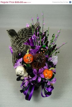 ON SALE Halloween Corsage Vintage Spun Cotton JOL Skull Raven Retro Midnight Black Purple Orange Decoration