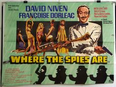 WHERE THE SPIES ARE - DAVID NIVEN / CYRIL CUSACK - ORIGINAL UK QUAD MOVIE POSTER