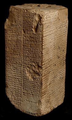 The Sumerian King List (The Weld-Blundell Prism) lists a succession of kings and cities from Sumer, which begins with mythical kings, like Gilgamesh, and then goes on to list historical leaders. It is considered a key document in the decipherment of cuneiform. - ca. 2000-1800 BCE (Old Babylonian). Ashmolean Museum, Oxford.