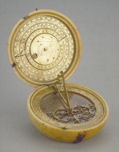 Astronomical Compendium Signed by Charles Whitwell circa 1600; London Gilt brass and ivory; 66 mm in diameter