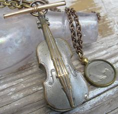 Free gift necklace Antique deco figural silver metal Violin  Match safe poison Pill box pendant  buffalo nickle Lux Revival Men Jewelry K66. $355.00, via Etsy.