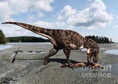 Tyrannosaurus Enjoying Seafood Print By Julius Csotonyi