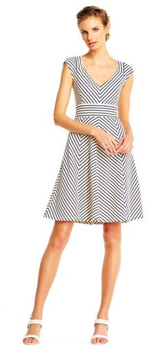 Adrianna Papell   Cap Sleeve Chevron Stripe Print Fit and Flare Dress with V-Neck