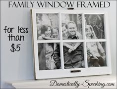 Under $5 Family Photo Display with an Old Window @ Domestically-Speaking.com