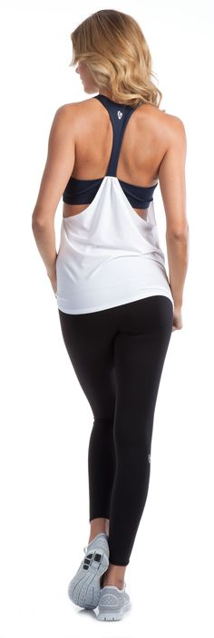 White tank with back draping - cute enough to keep wearing after the workout is over