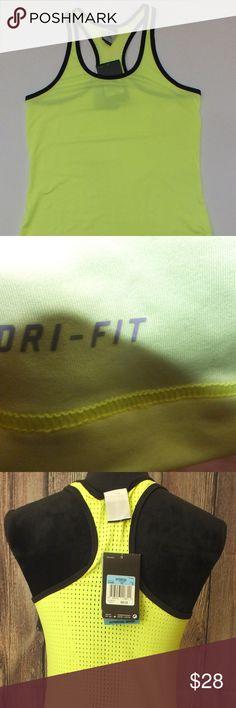 Nike Neon Yellow Racerback Dri Fit Tank Top M NWT.  Neon yellow (think highlighter).  Size medium. Nike Tops Tank Tops