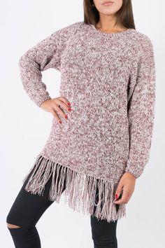 SWEATER CHIE Referencia  3214 Condición:  Nuevo producto  Sweater largo con flecos. Cuello bote y mangas caídas.  Colores: Bordo - natural / Lacre - Natural / Verde seco - Natura #FW2016
