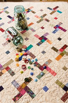 Four-Patch Pinwheels wall quilt   31x41