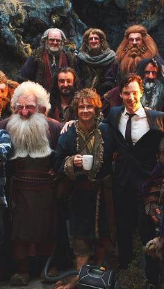 Bilbo (aka Watson in another film life) get a visit on the set of the Hobbit.