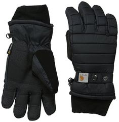 Carhartt Women's Quilts Insulated Breathable Glove with Waterproof Wicking Insert, Black, Small Best Winter Gloves, Best Gloves, Warmest Winter Gloves, Women's Gloves, Cold Weather Gloves, Weather Wear, Camping Outfits, Camping Clothing, Camp Clothes