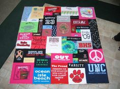 T-shirt Quilt! Finally found something to do with all of my old Tshirts that I don't want to throw away!