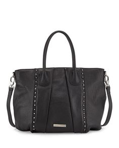 Charles Jourdan Dally Studded Leather Tote Bag, Black Leather trimmed with pyramid studs. Interior Blue Satin lined. List $320.00 Now $192.00 @opulentnails