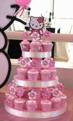 Hello Kitty Cupcakes. Good idea for a girl's birthday.