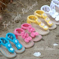 """A line-up of """"Baby Seaside Sandals""""... I could see these in adult size too!"""