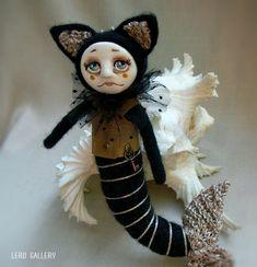 Items similar to Cat mermaid. on Etsy Art Doll Tutorial, Halloween Wall Decor, Ladybug Art, Felt Owls, Cat Doll, Tiny Dolls, Creepy Dolls, Mermaid Art, Soft Sculpture