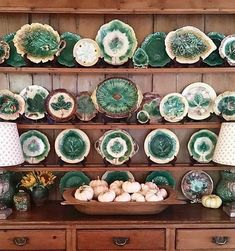 Welsh dresser styled with majolica & dough bowl of white pumpkins - Stacy Lewis