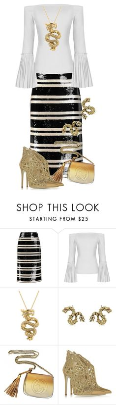 """""""Dragon Lady"""" by jakenpink ❤ liked on Polyvore featuring Alice + Olivia, Effy Jewelry, Betsey Johnson, Gucci and Loriblu"""
