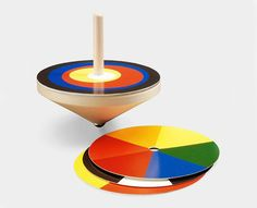 Spinning Top Poetry - Bauhaus spinning top with exchangeable color theory wheels