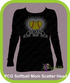 Rhinestone Softball Mom Scatter Heart, $26.99