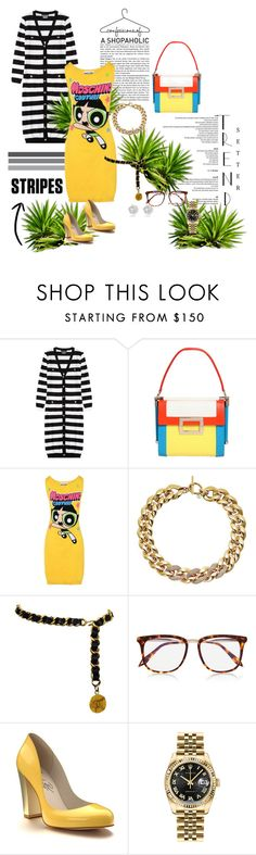 """#GIRLPOWER"" by g-vah-styles ❤ liked on Polyvore featuring Boutique Moschino, Roger Vivier, Moschino, Michael Kors, Chanel, Victoria Beckham, Shoes of Prey, Rolex and River Island"