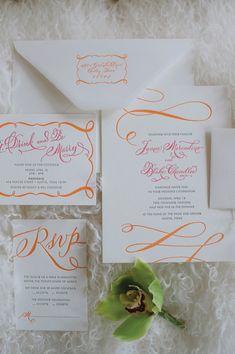 swirly pink + orange invitation | Cameron & Kelly Studio #wedding