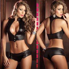$9.36 (Buy here: https://alitems.com/g/1e8d114494ebda23ff8b16525dc3e8/?i=5&ulp=https%3A%2F%2Fwww.aliexpress.com%2Fitem%2F2017Women-Sexy-Exposed-Breasts-Bow-Underwear-Lady-Sexy-Erotic-Lingerie-Hot-Transparent-Conjoined-Dress-Suit-Sex%2F32796634370.html ) 2017 Hot Women Sexy Lingerie Nightclub Dress Patent Leather Pole Dance Bodysuit Bodydoll Temptation Clubwear Bikini Sets  for just $9.36