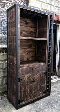 These stunning Rustic Industrial Wine Cabinets are the perfect way to organize your bottles and glasses. Built from genuine rough sawn barn board and steel corners and trim, these cabinets can be built to any size, layout and finish you would like. Industrial Design Furniture, Metal Furniture, Furniture Projects, Rustic Furniture, Vintage Furniture, Wood Projects, Diy Furniture, Furniture Design, Furniture Storage