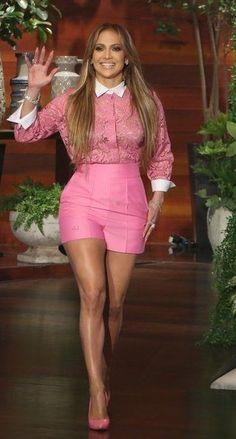 Jennifer Lopez wearing Valentino Bi-Colour Lace Shirt and Casadei Pink Blade Pumps J Lo Fashion, Star Fashion, Look Fashion, Fashion Outfits, Womens Fashion, Short Outfits, Cute Outfits, Celebs, Celebrities