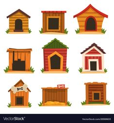 Wooden Dog House Set, Dogs Kennel Cartoon Vector Illustrations On A White  Background. Download