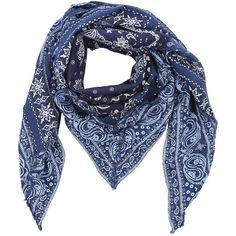 Diesel SBANNA Scarf ($78) ❤ liked on Polyvore featuring accessories, scarves, blue, other accessories, women, blue shawl, cotton bandana, blue handkerchief, cotton handkerchiefs and cotton scarves