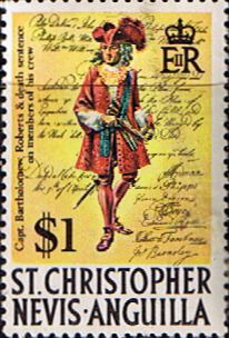 1970 St Christopher Nevis Anguilla SG 219 Captain Bartholomew Roberts Fine Mint Scott 220 Other West Indies and British Commonwealth Stamps HERE!