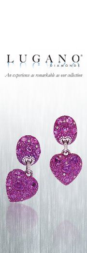 Purple Sapphire and Diamond Heart Earrings by Lugano Diamonds