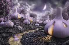 """""""GARLICSHIRE: a village for lovers of garlic and cabbage"""" by Carl Warner.   A garlic dreamscape!"""