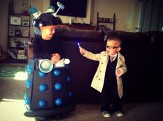DIY Doctor Who Dalek kid costume from trash can serving bowl ball pit balls and dollar tree and Walmart supplies