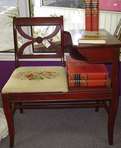 Vintage Telephone Gossip Bench Mahogany Needlepoint Seat Nice Home Accent  Used Before Cell Phones Took Over
