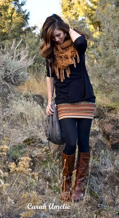 tribal mini, scarf, and boots, fall gorgeousness