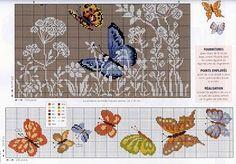 Punto de Cruz GRATIS: Cenefa y cuadro de Mariposas Volando