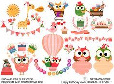 Happy birthday owl Digital clip art for от Giftseasonstore на Etsy