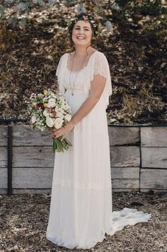 Shop affordable Bohemian Plus Size Lace Short Sleeves Scoop Open Back Wedding Dress at June Bridals! Over 8000 Chic wedding, bridesmaid, prom dresses & more are on hot sale. Casual Country Wedding, Country Wedding Dresses, Bohemian Wedding Dresses, Wedding Dresses Plus Size, Plus Size Wedding, Bohemian Weddings, Wedding Dresses For Older Women, Bohemian Bride, Indian Weddings