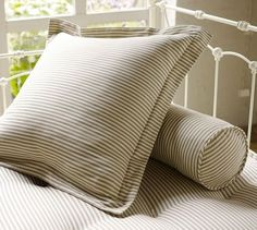 Ticking Stripe Pillow Cover - traditional - shams - Pottery Barn