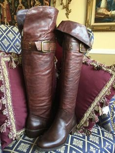 Jessica Simpson HIPPIE BOHO TALL LEATHER OVER the KNEE BOOTS, TEAK BROWN 6.5B…