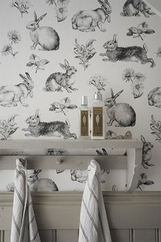 Bunny wallpaper and mushroom wainscoting! Vintage Style Wallpaper, Bold Wallpaper, Unique Wallpaper, Rabbit Wallpaper, Casas Containers, Ivy House, House Wall, Farm House, Deco Design