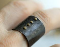 Extra extra wide hand hammered band ring  -Sterling silver ring with 4 brass rivets, as an added detail  -Rustic ascetic oxidized