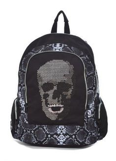 "This Mojo ""Crystal Skull"" Back truly is one of a kind. Made of python printed polyester with rhinestone skull detail, features 2 main compartments, 2 side pockets, and an interior organizer. Not intended for children 3 or under, as choking or entanglement may occur"