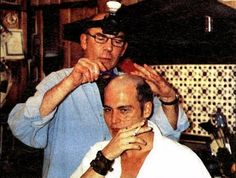 """Hunter S Thompson shaving Johnny Depp's hair for the film """"Fear and Loathing in Las Vegas"""". It was done in Hunter S Thomps..."""
